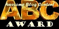 "Graphic image of ""Awesome Blog Content (ABC) Award"""